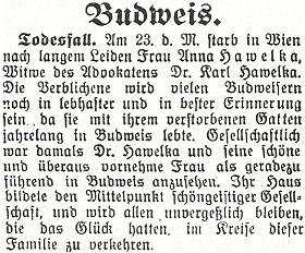 """Zpráva o úmrtí vdovy po něm 23. září roku 1933 je provázena vzpomínkou na dům, který """"tvořil středobod intelektuální společnosti"""" ve městě"""