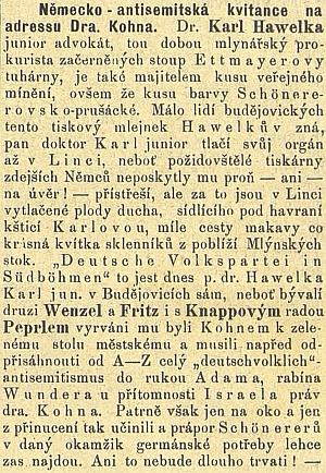 Článek o něm v českém budějovickém listu svědčí o dobovém antisemitismu a zmiňuje i Israela Kohna