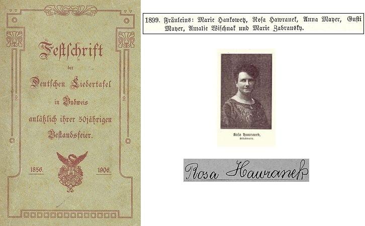 Její fotografie a obálka (1906) sborníku k jubileu Deutsche Liedertafel v Budějovicích a místo z alba spolku s jejím jménem, podpis je z archu sčítání lidu z roku 1921