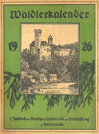 Obálka a obsah šumavského kalendáře (1926), kde se její jméno ocitá v sousedství těch nejvýznamnějších autorů