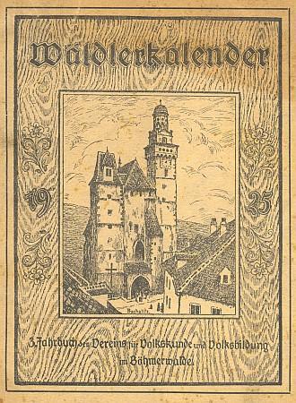 Obálka šumavského kalendáře (1925) s kresbou Wilhelma Fischera a část jeho obsahu s jejím jménem mezi významnými autory