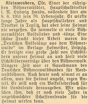 K jeho sedmdesátinám vyšel na stránkách krajanského časopisu v červnu roku 1951 tento text