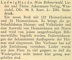 Inzerát na jeho knihu šumavských písní a tanců také zroku 1951