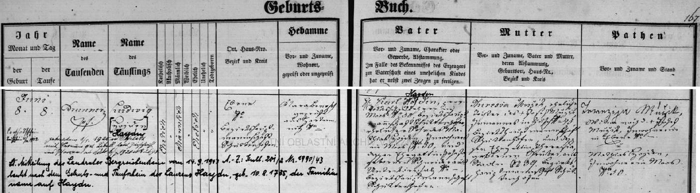 """Záznam křestní matriky farní obce Dobrá Voda u Hartmanic o jeho narození v rodině učitele Karla Hojdena a jeho ženy Theresie, roz. Mužikové, s přípisem o svatbě Ludwiga, tehdy ještě rovněž Hojdena, v Teplicích roku 1920 (nevěsta byla roz. Liballová), jakož i o změně Ludwigova příjmení """"Hojden"""" v roce 1943 na """"Haydn"""" podle křestního listu jednoho z předků, narozeného v srpnu roku 1735(!)"""