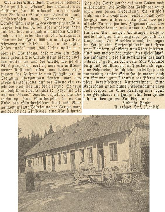 """O rodné Rovině napsal do krajanského měsíčníku tento článek, doprovázený snímkem někdejšího stavu     zdejšího hostince """"Zum Güntherfels"""", tj. """"U Vintířových skal"""" (viz i níže)"""