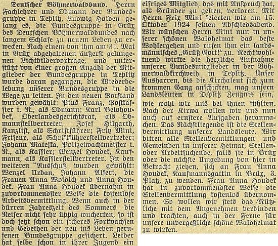 Tady se o něm a jeho činnosti v Teplicích rozepsal českobudějovický německý list v roce 1924