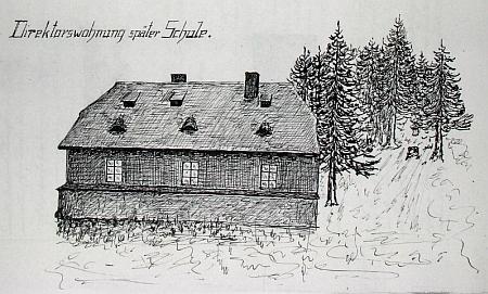 Škola v Prášilech na kresbě z tamní obecní kroniky