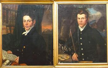 Vzácný soubor portrétů rodiny Veithovy, zřejmě dílo Antonína Machka (zleva Jakob a Rosalia Veithovi, Anton Veith, dole dva synové Wenzela Veitha)