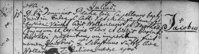 """Záznam volarské matriky o narození Jakoba Veitha dne 15. července roku 1758 """"Sebastianu Veuchtovi"""" a jeho ženě Dorothee - otec je tu titulován jako """"Civis Wollariensis"""" a křížek u křestního jména novorozencova značí právě jeho pokřtění"""