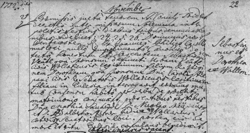 """Svatba Jakobova otce Sebastiana s Dorotheou, roz. Stiepaniovou v listopadu 1752 ve Volarech je zaznamenána vevolarské matrice se ženichovým příjmením psaným """"Veütl"""""""