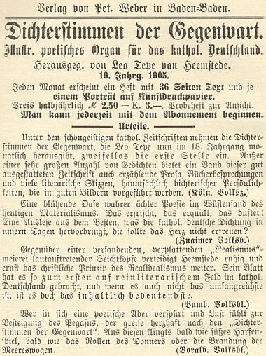"""Inzerát nakladatelství Peter Weber v Baden-Baden na jeho časopis """"Dichterstimmen der Gegenwart"""", který vycházel vroce 1905 už ve svém 19. ročníku"""