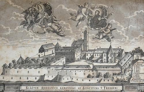 Augustiniánský klášter v Třeboni na rytině podle veduty z 18. století, pohled ze severu...
