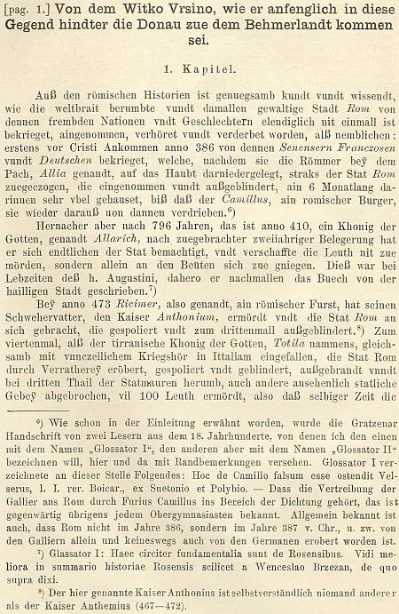 Úvodní část kroniky o příchodu Vítka Ursina s kritickými poznámkami Klimeschovými pod čarou
