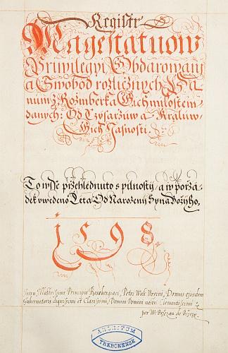 Titulní list Březanova inventáře listin rožmberského archivu zroku 1598