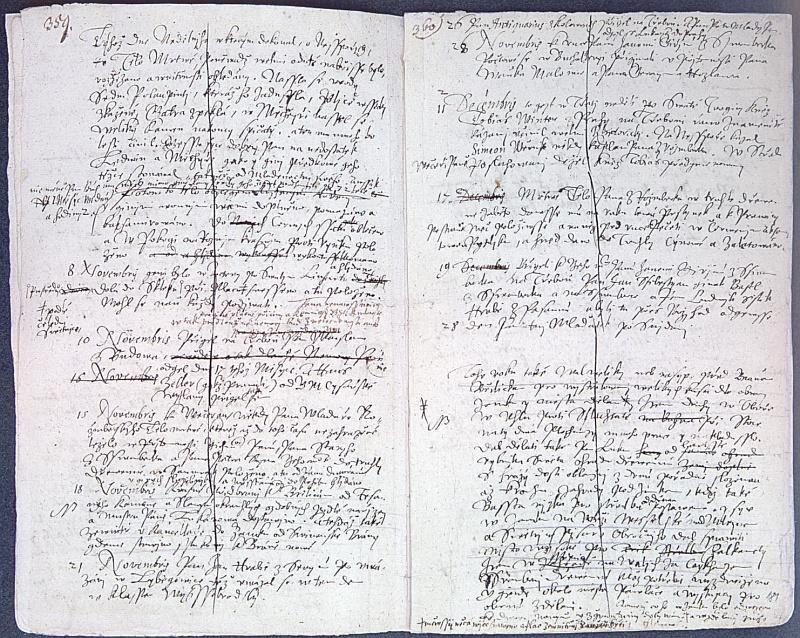 Březanův koncept Historie rožmberské se zápisem o úmrtní Petra Voka