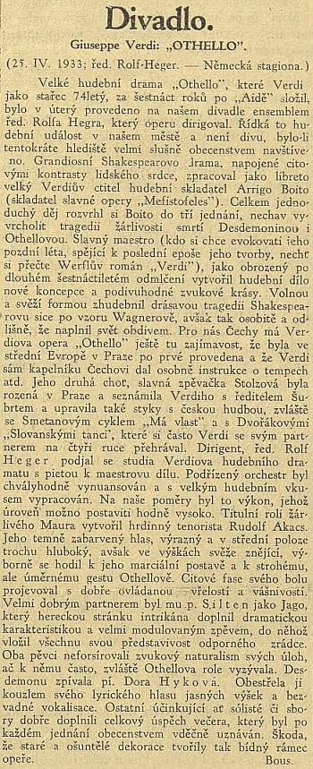 """Místní hudební událostí se stalo jeho provedení Verdiho opery """"Othello"""" (článek odkazuje k románu """"Verdi"""" Franze Werfela)"""