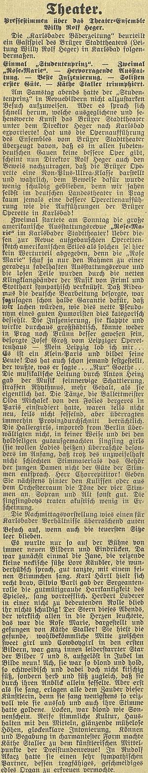 Další článek v českubudějovickém německém listu o německé divadelné sezóně roku1933