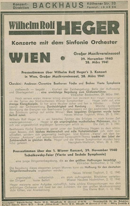 Pozvánka na vídeňský koncert v listopadu 1940