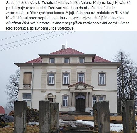 V roce 2018 se dočkala rekonstrukce i vila jeho tchána vkrušnohorském městysi Kovářská