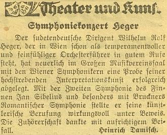 Zpráva o jeho jiném koncertu ve vídeňském tisku z válečných let