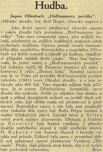 """Recenze provedení """"Hoffmannových povídek"""" pod """"soustředěným vedením"""" šéfa operyHegera"""
