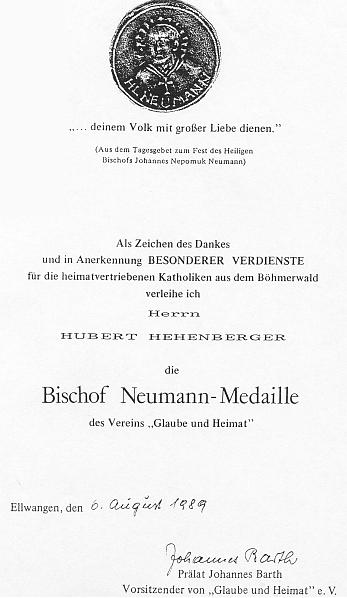 Listinu k udělení medaile biskupa Neumanna podepsal prelát Johannes Barth