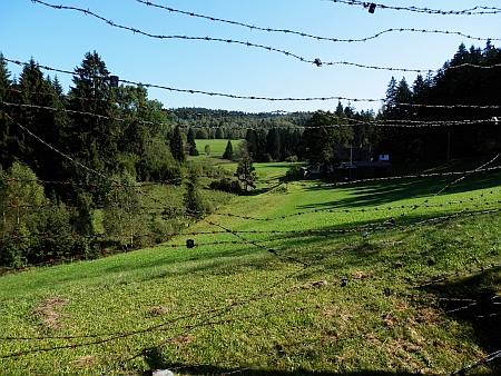"""Hraniční potok Divoká u Guglwaldu skrze ostnaté dráty místního památníku, připonínajícího """"Železnou oponu"""""""