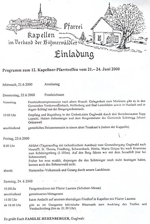 Pozvánku na 12. setkání rodáků z farnosti Kapličky v Guglwaldu připravila rodina Hehenbergerova