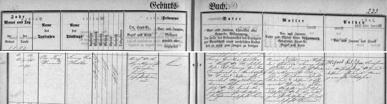 Narodil se podle záznamu v křestní matrice zaniklé farní obce Jablonec v rovněž zaniklé dnes vsi Loutka čp. 16 chalupníkovi Franzi Heidlerovi (jeho otec Franz Heidler pocházel ze vsi Míšňany /Meisetschlag/, dnes také zaniklé, matka Magdalena, roz. Böhmeová, byla rodem z Borové /Mistelholz/, dosud ještě existující) a jeho ženě Anně, roz. Dichtlové, dceři Franze Dichtla, chalupníka v Loutce čp. 20, jehož žena a Annina matka Theresia, roz. Motzko, pocházela ze zaniklého dnes Veselí (Schneidetschlag)