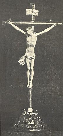 Barokní kříž ze slonoviny z kostela v Blansku, kde rovněž působil jako kněz