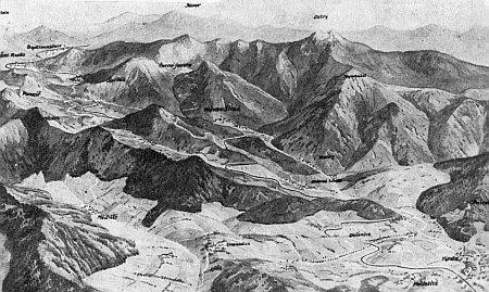 Panoramatická pohlednice s Hojsovou Stráží uprostřed