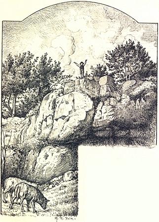Tady zachytil ve své knize malého Adalberta, jak káže kravám na vrchu Ořík (Roßberg) uHorní Plané