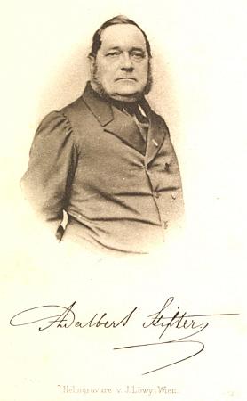 Titulní strana jeho knihy o Stifterovi a frontispis s heliogravurou vídeňského     c.k. dvorního fotografa Josefa Löwyho (1834-1902), rodáka z Bratislavy
