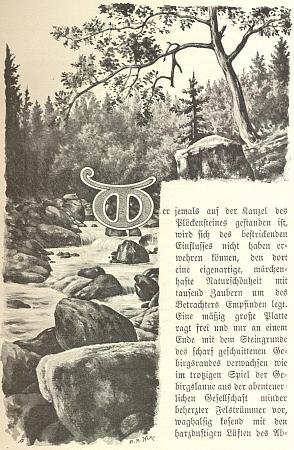 Úvodní iniciála textu Heinova životopisu šumavského klasika se znázorněním Čertových proudů u Vyššího Brodu, které nese rovněž signaturu Heina jako autora výtvarné výzdoby knihy