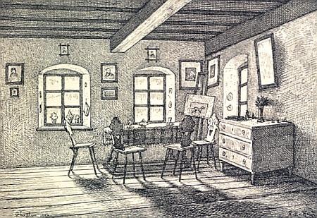 Takto zobrazil obytnou světnici ve Stifterově rodném domě