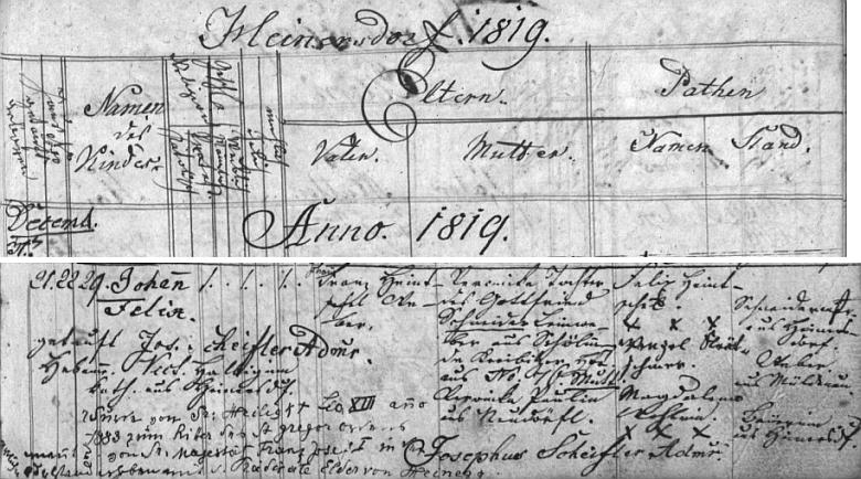Německy psaný záznam o jeho narození v křestní matrice farní obce Jindřichovice pod Smrkem