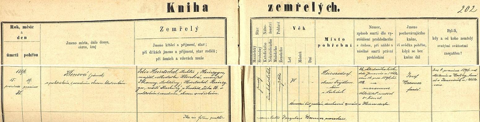Česky psaný záznam úmrtní matriky farní obce Týnec o jeho úmrtí na zámku Klenová