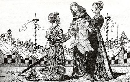 Dvě ilustrace Ervína Urbana z knihy Alexeje Pludka Rytířská jízda Jana z Michalovic
