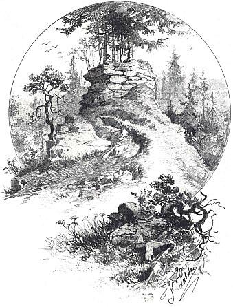Liebscherova kresba zachycuje zbytky velešínského hradu nad Malší, jednoho z nejstarších v Čechách, k němuž vdobě vzniku dosahal ještě souvislý pomezní hvozd