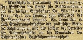 Jmenování jeho otce členem vyživovací rady pro okres Sušici v posledním roce první světové války