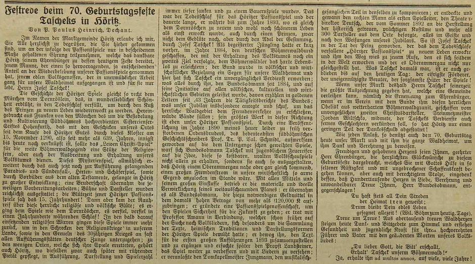 V hořické školní kronice se uchoval i přetisk Heinrichova projevu k oslavě sedmdesátin Josefa Tascheka, v místě konané