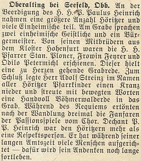 O jeho pohřbu v Oberalting bei Seefeld