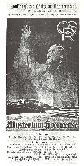 Titulní strana propagačního letáku k hořickým pašijovým hrám z roku 1933