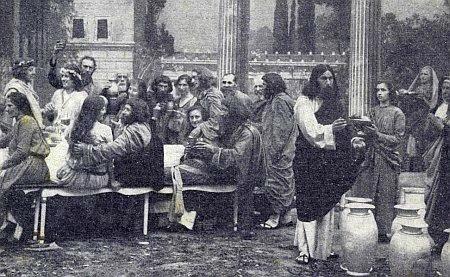 Svatba v Káni Galilejské ve scéně z Hořických pašijových her