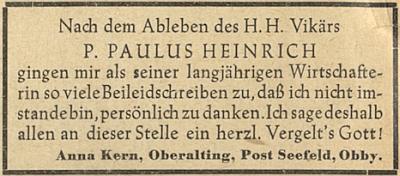 Poděkování jeho dlouholeté hospodyně za projevy soustrasti po jeho úmrtí v roce 1951 v Horním Bavorsku (Oberbayern)
