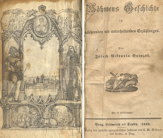 Frontispis a titulní list (1843) jeho knihy