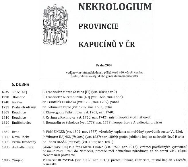 Ze stránek Nekrologia provincie kapucínu (2009)