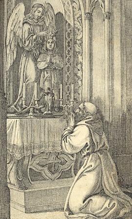 Jako by to byl on sám, ten zbožný kapucím před oltářem s andělem strážným