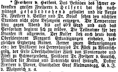 Vídeňský tisk bedlivě sledoval vývoj jeho zdravotního stavu před úmrtím