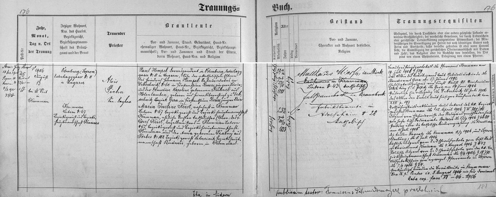 Záznam českokrumlovské matriky o svatbě jeho rodičů